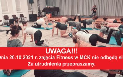 Zajęcia Fitness odwołane w dniu 20.10.2021