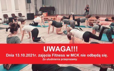 Zajęcia Fitness odwołane w dniu 13.10.2021